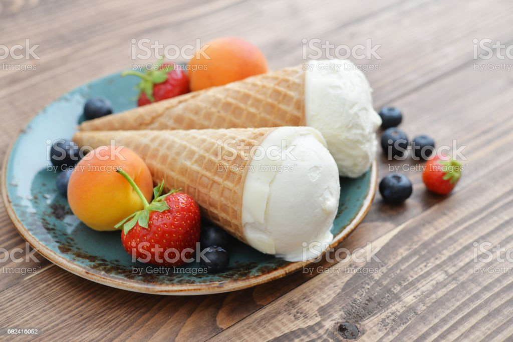 Ice cream in cones royalty-free stock photo