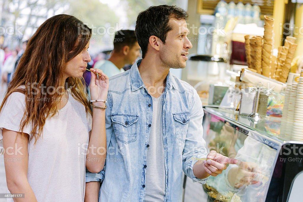 Ice cream kiosk, Las Ramblas stock photo