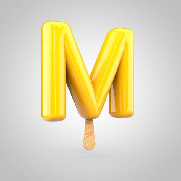 Ice cream letter M uppercase isolated on white background stock photo