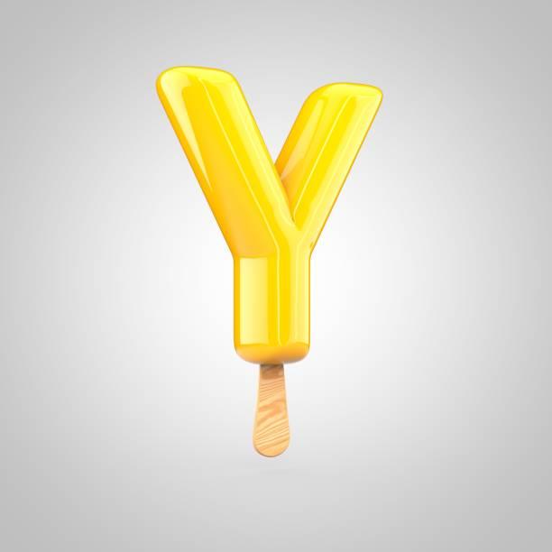 Ice cream letter Y uppercase isolated on white background stock photo