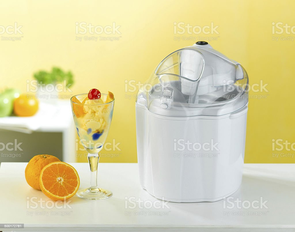 Ice cream making tool in the kitchen interior stock photo