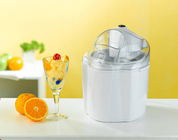 Ice cream making tool in the kitchen interior stock photo