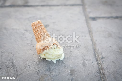 Ice cream on the ground. (selective focus)