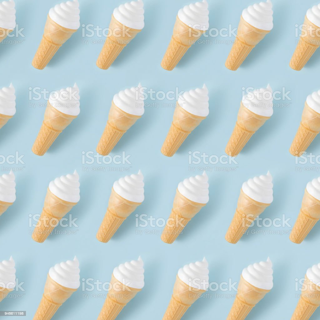 Ice Cream Pattern on Blue Pastel Background stock photo