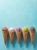 istock ice cream scoops in cones with copy space on blue 1155591704