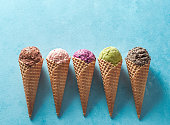 istock ice cream scoops in cones with copy space on blue 1222008227