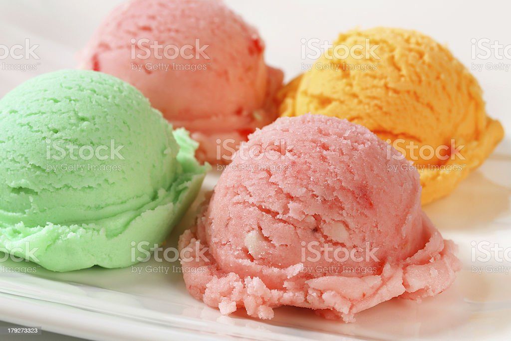 Ice cream scoops on plate royalty-free stock photo