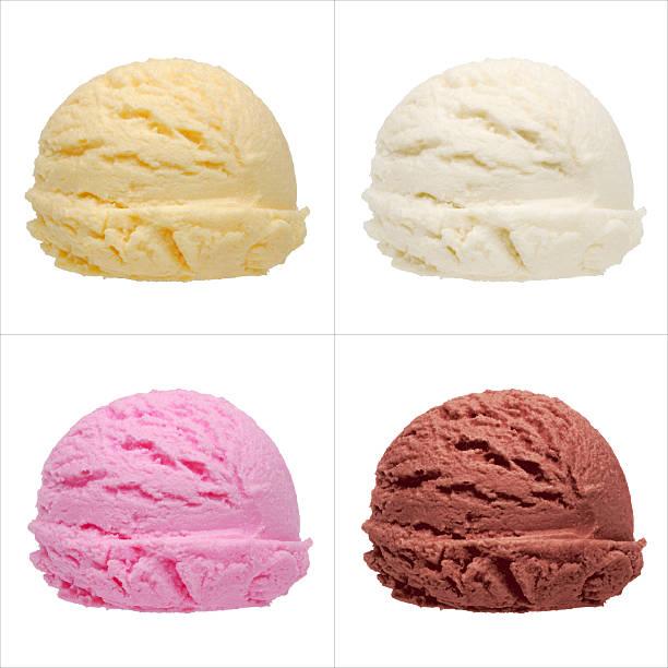 palline di gelato - cucchiaio dosatore foto e immagini stock