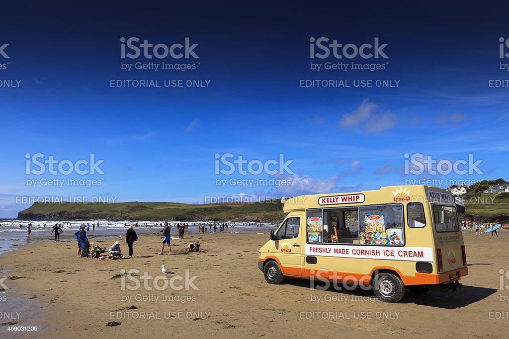 ice cream seller of Kelly's on the beach at Polzeath stock photo