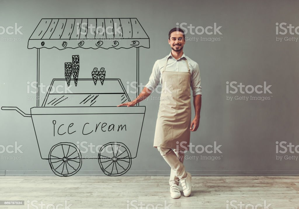 Ice cream seller stock photo