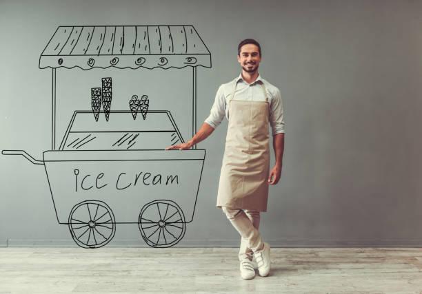 Ice cream seller stock photo