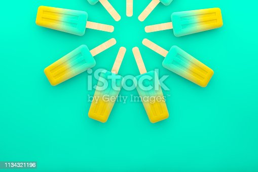 Ice cream stick, Popsicle, Minimal summer on colorful background