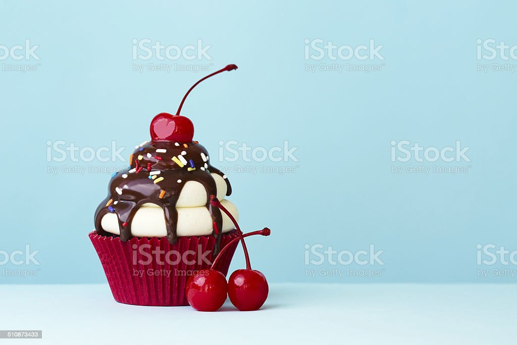 Ice cream sundae cupcake stock photo