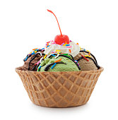Ice cream sundae in waffle bowl isolated on white - clipping path included (excluding the shadow)