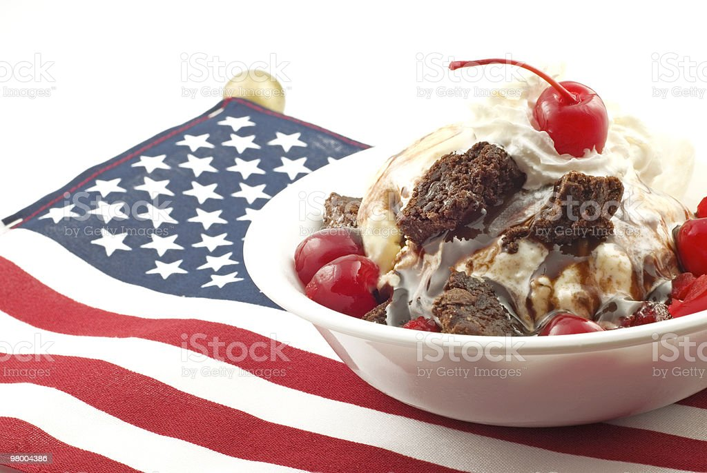 Ice Cream Sundae with Patriotic Theme stock photo