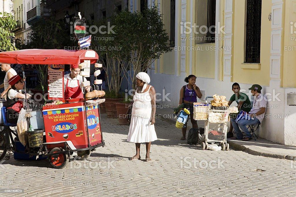Ice cream vendor, Havana royalty-free stock photo