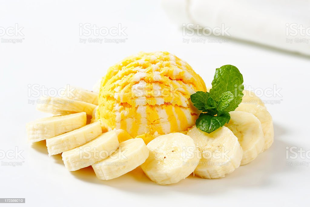 ice cream with banana slices royalty-free stock photo