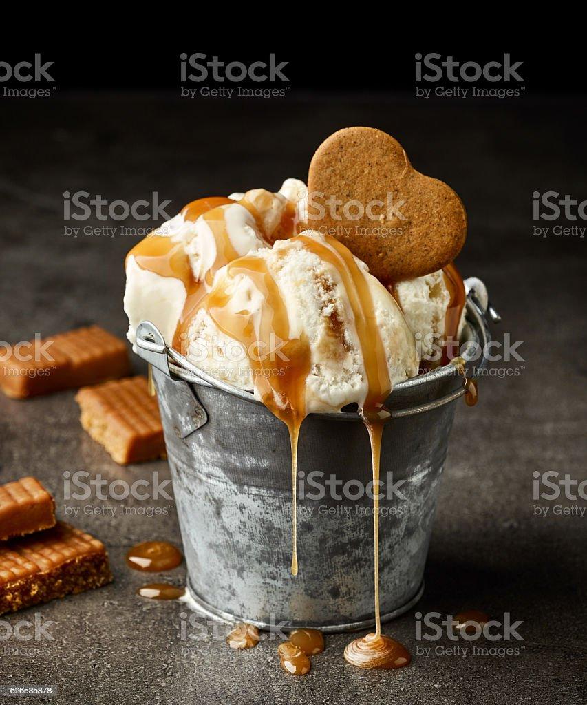 ice cream with caramel sauce stock photo