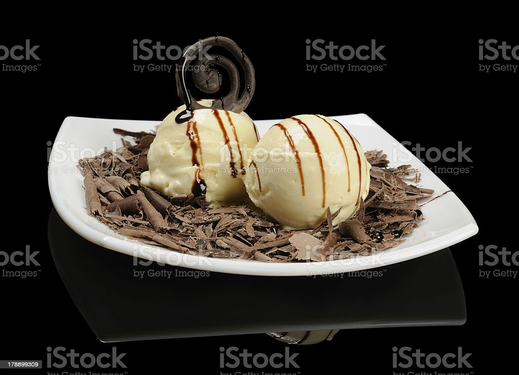 Ice cream with chocolate shavings royalty-free stock photo