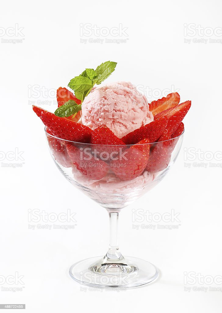 Ice cream with fresh strawberries stock photo
