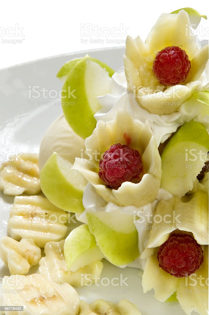 ice cream with fruit on plate royalty-free stock photo