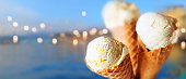 istock Ice cream with mediterranean background 1133553265