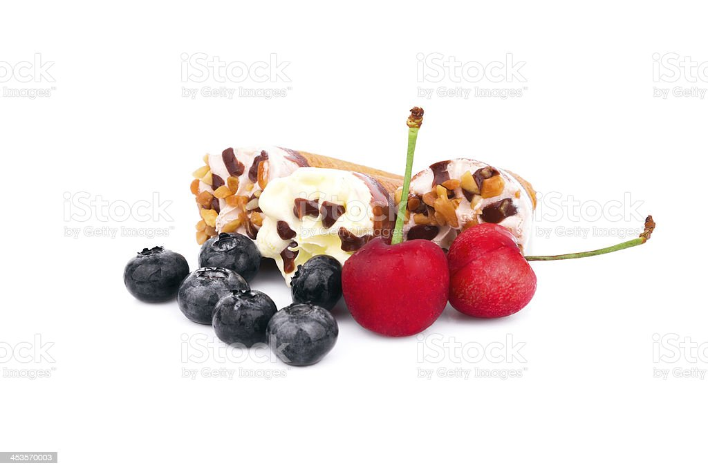 Ice Cream with mint cherry & blueberry isolated on white background royalty-free stock photo