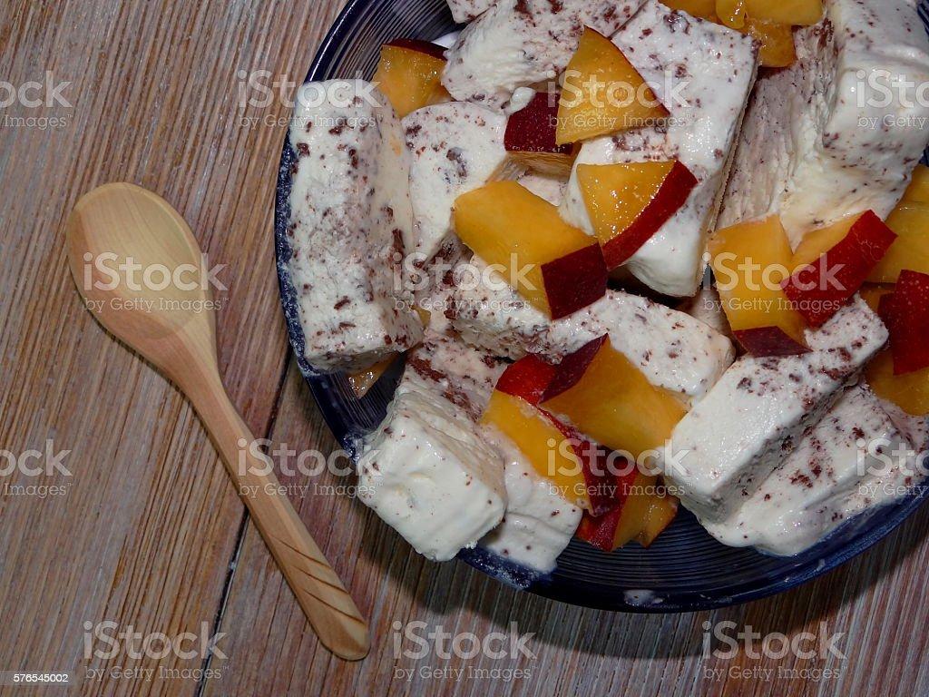 ice cream with peach stock photo