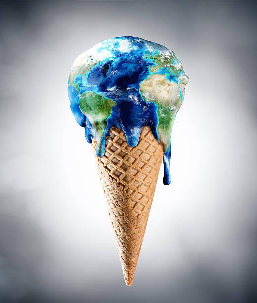Ice Cream World - Climate Change Concept stock photo