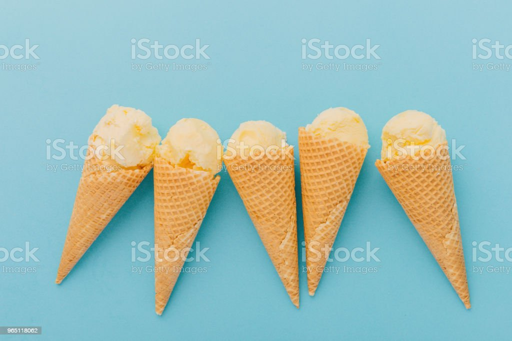 Ice creams in waffle cones royalty-free stock photo
