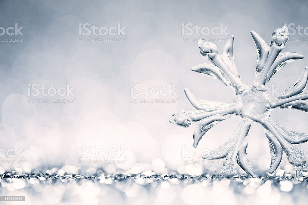 Ice Crystal - Snowflake Christmas Decoration Snow Background Winter Blue stock photo
