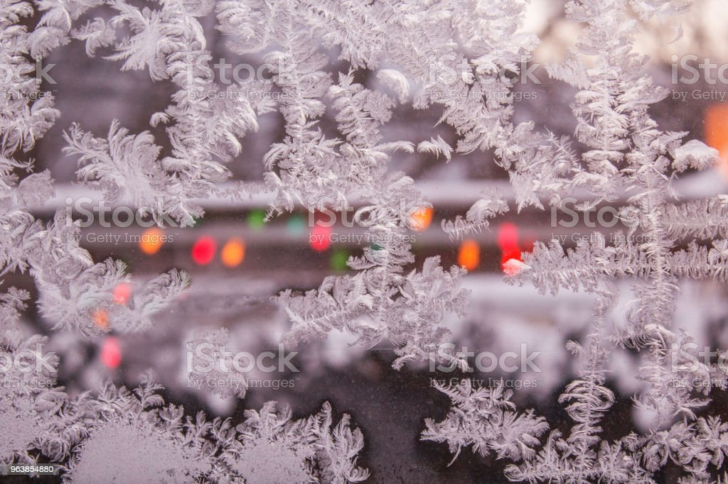 Ice Crystals in Window - Royalty-free Christmas Stock Photo