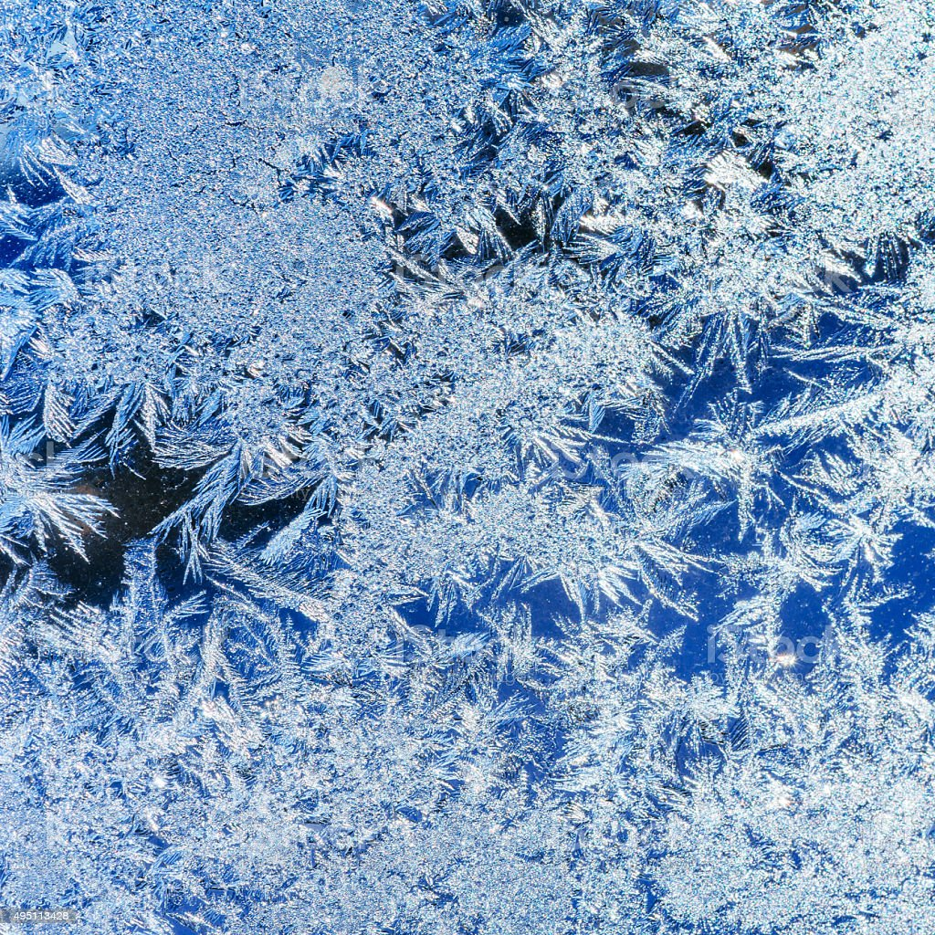 ice crystals on a window stock photo
