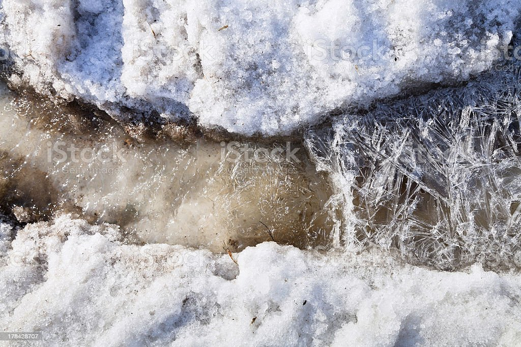 ice crystals under melting snow stream royalty-free stock photo