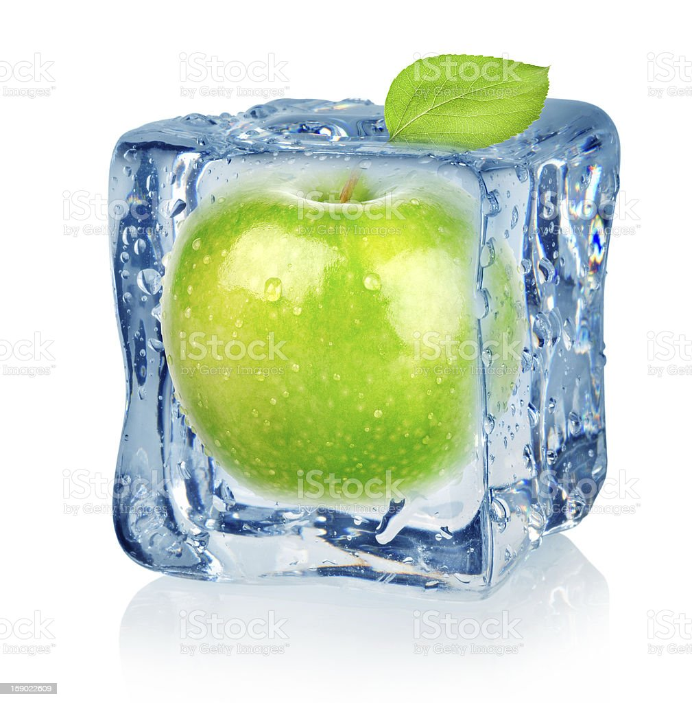 Ice cube and apple royalty-free stock photo