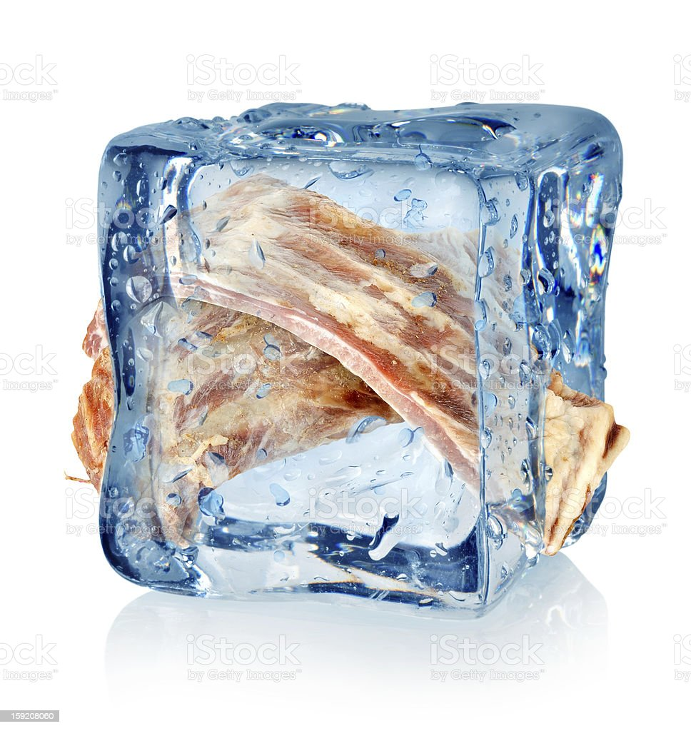 Ice cube and ribs royalty-free stock photo