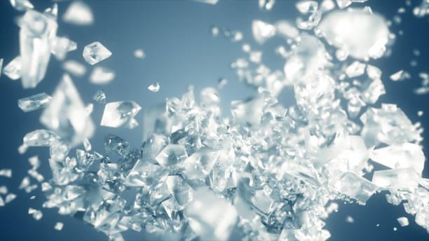 ice cube explosie in slow motion 3d illustratie - amfetamine stockfoto's en -beelden