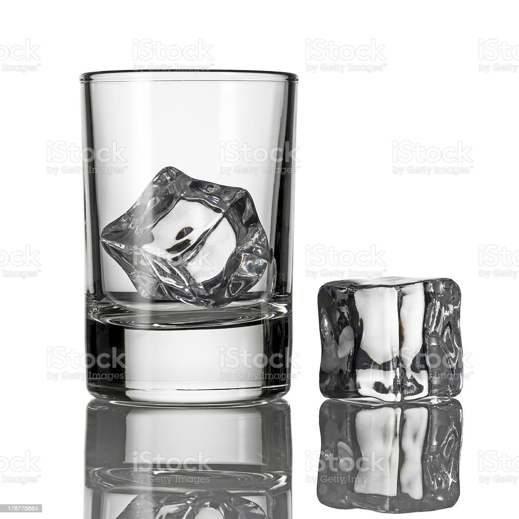 Ice cube in a glass royalty-free stock photo