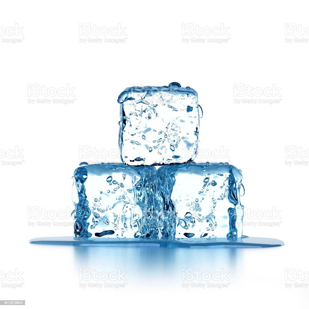 Ice cubes Melting ice cubes isolated on white background Arctic Stock Photo