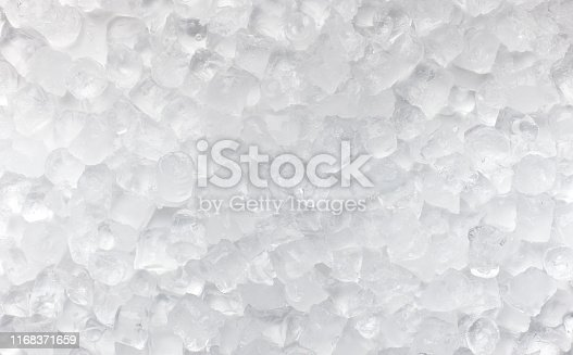 Summer background. Ice cubes scattered on white for advertisement, copy space