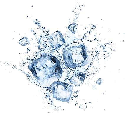 Ice Cubes Splashing - Cool Refreshing Crystals With Water Drops