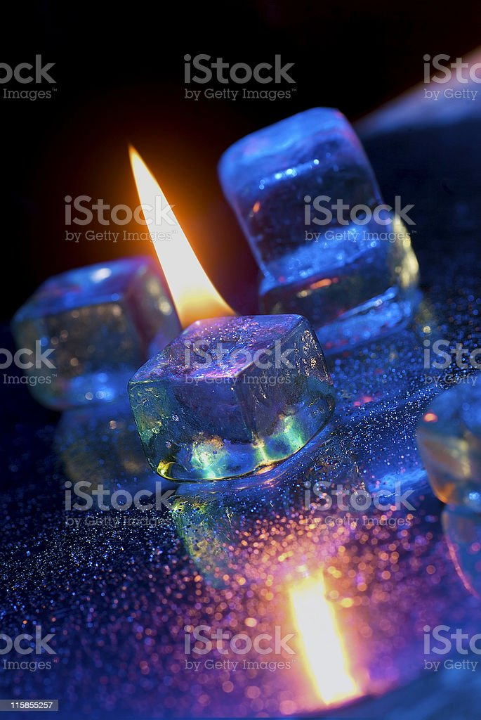 Ice cubes with flame royalty-free stock photo