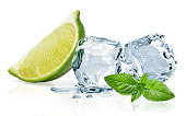 Ice cubes,lime wedge and basil leaves isolated on white background