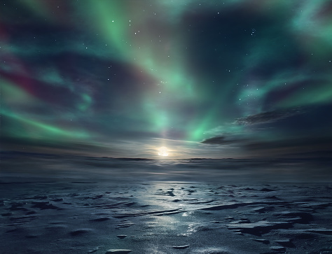 Night landscape of frozen desert and starry sky with northern lights