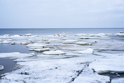 Ice drift on Baltic sea. Spring cloudy day.
