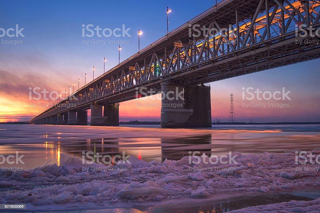 Ice drift on the Amur river. Amur bridge – Foto
