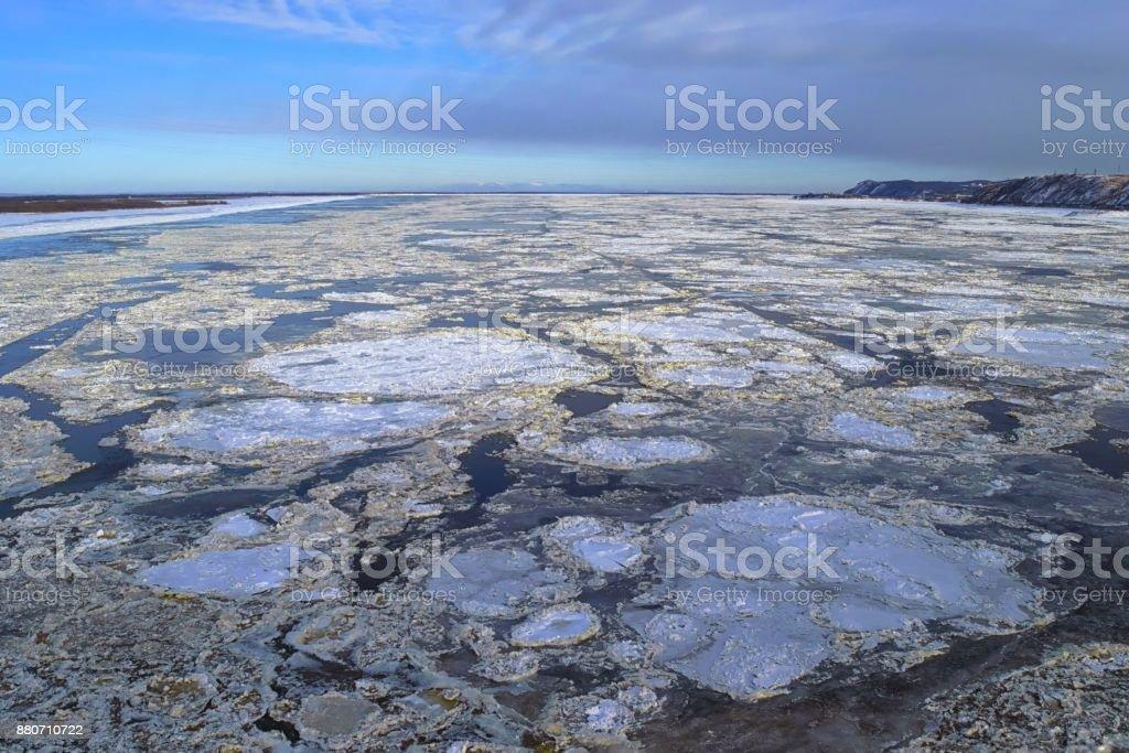 Eisgang auf dem Fluss Amur. Chabarowsk, Fernost, Russland. – Foto