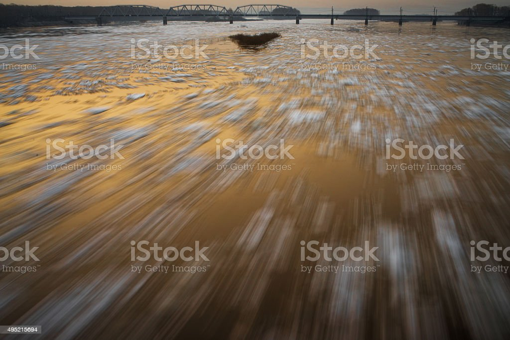 Ice drifting on the river stock photo