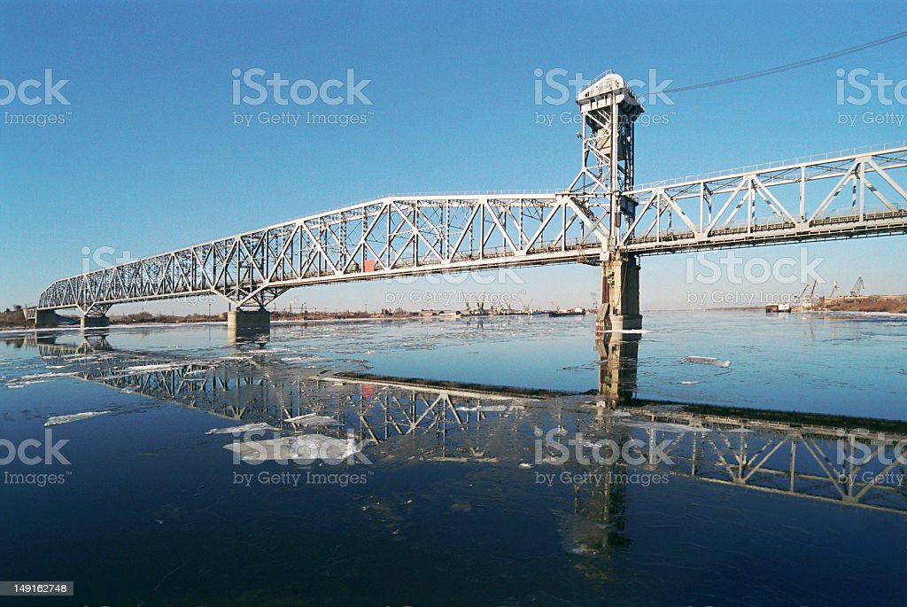 Ice drifting on the Volga. Russia, Astrakhan stock photo