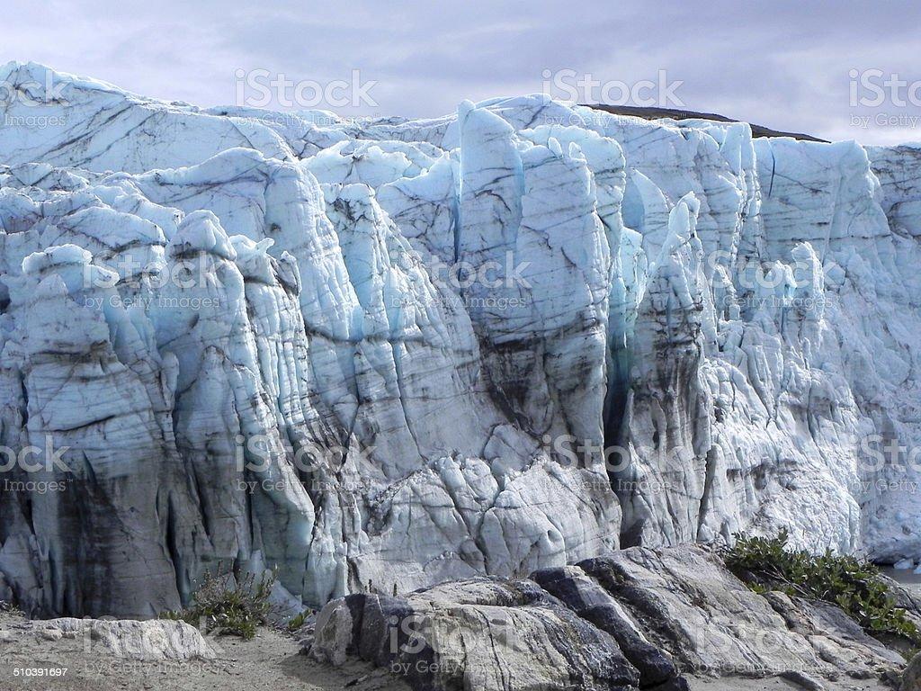 ice edge of Greenland ice sheet Russel glacier seen near Kangerlussuaq Arctic Stock Photo